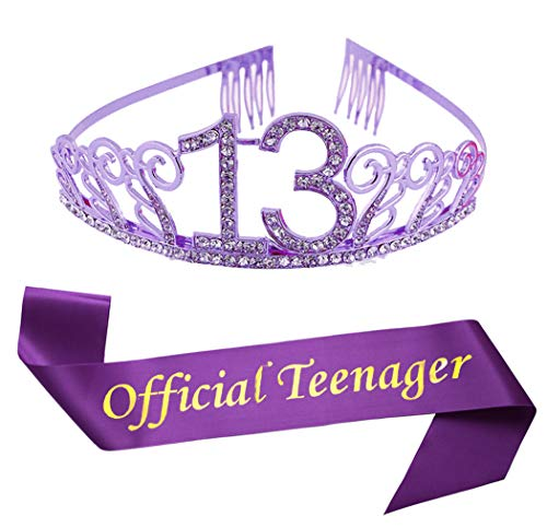 13th Birthday Purple Tiara and Sash Glitter Satin Sash and Crystal Rhinestone Tiara Crown for Happy 13th Birthday Party Supplies Favors Decorations 13th Birthday Party Accessories