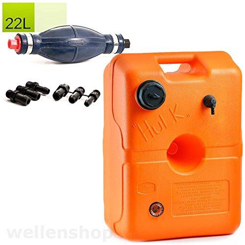 wellenshop 22 L Treibstofftank für Boote + Pumpbalg 6-10 mm Anschluss