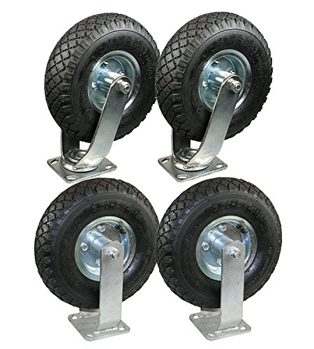 HKB ® 2x Lenkrolle + 2x Bockrolle 260 mm x 85 mm incl. jeweils einem Sackkarrenrad mit Metall-Felge mit Kugellager in der Felge. …