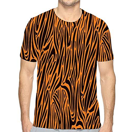 vbndfghjd Men's Short-Sleeve T-Shirtnatural Seamless Pattern Orange ze Print Tshirt M