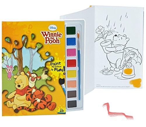 alles-meine.de GmbH Malbuch / Malblock mit 8 Wasserfarben + Pinsel - Disney Winnie The Pooh Bär - Malvorlagen Puuh Tigger - Aufkleber für Jungen Mädchen Malbücher Farben Vorlagen..