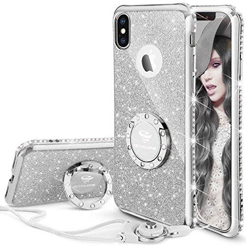 OCYCLONE iPhone X Hülle, Glitzer Handy Hülle iPhone XS mit Ring 360 Grad Ständer, Bling Diamant Dünne Sparkly Schützhülle für Mädchen Frauen iPhone X/iPhone XS Hülle - Silber