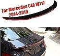 KQBAM Carbon Heckspoiler Rear Spoiler Für Mercedes-Benz Cla W117 45 Amg 180 200 220 250 260 Limousine, 2014-2019, Schwarz Mit Roten Kanten