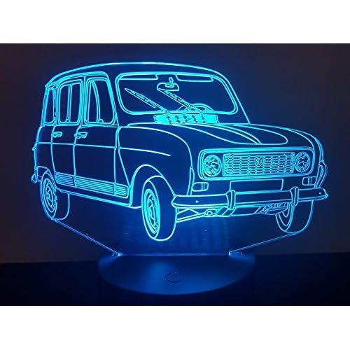 RENAULT 4L, Lampada illusione 3D con LED - 7 colori.