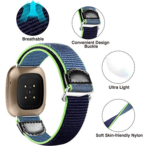 JUVEL Strap Compatible with Fitbit Versa 3 Strap/Fitbit Sense Strap, Soft Woven Nylon Sport Loop Breathable Replacement Wristband for Women Men, BlueGreen