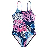 Zando Girls Swimsuits Bathing Suits - Athletic One Piece Swimsuit Beach Swimwear for Baby Girl Toddler Kids 6-7 Years Navy Petals