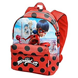 5148CXSUoYL. SS300  - Karactermania Prodigiosa Ladybug Marinette - Disney Mochila tiempo libre con bolsillo delantero, 30cm X 42cm X 17cm, Rojo