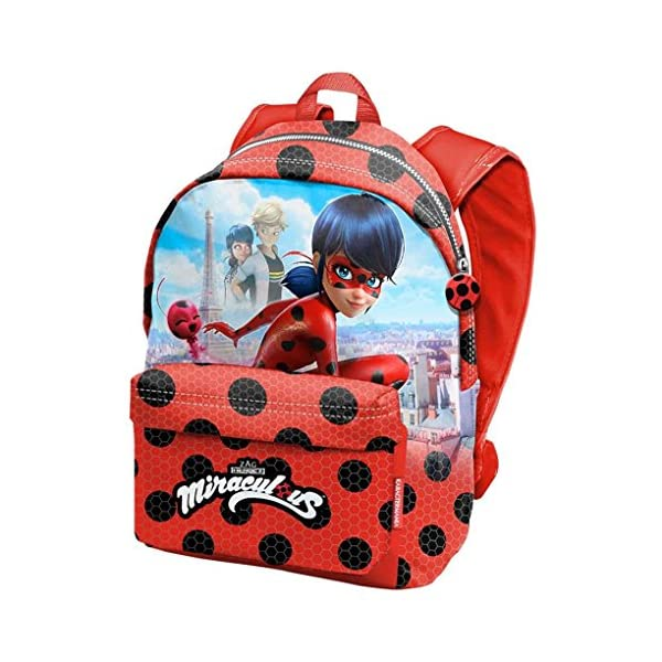 5148CXSUoYL. SS600  - Karactermania Prodigiosa Ladybug Marinette - Disney Mochila tiempo libre con bolsillo delantero, 30cm X 42cm X 17cm, Rojo