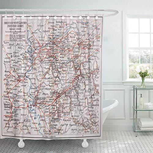 N\\A Cortina de baño Tejido de poliéster Resistente al Agua Mapa Vintage del área Industrial de Westfalia Renania Imagen de Meyers Set con Ganchos Cortinas de baño Decorativas