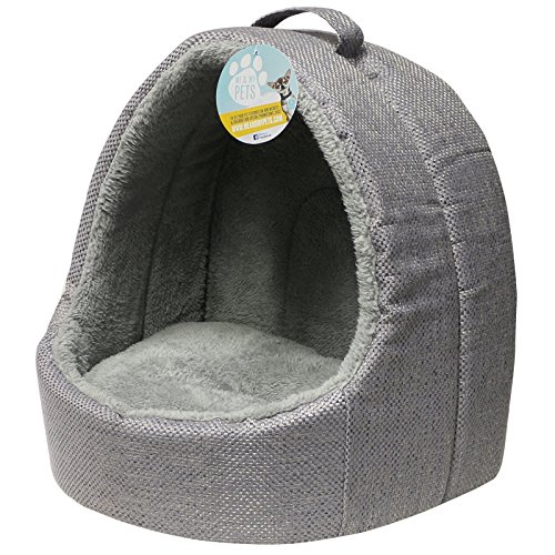 Me & My Pets Soft Grey Fleece Cat Igloo Bed