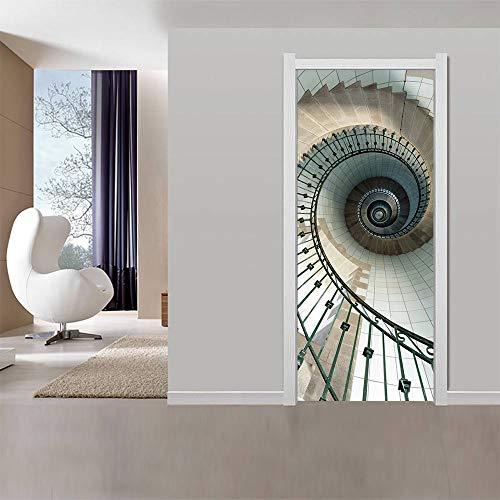 Sticker voor 3D-deuren, wanddecoratie, woonkamer, keuken, slaapkamer, badkamer, behang, 77 x 200 cm, slakkenladder, afneembaar, vinyl, om zelf te maken 77x200cm