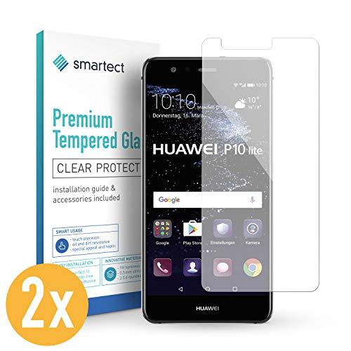 smartect Beschermglas compatibel met Huawei P10 Lite [2 stuks] - screen protector met 9H hardheid - bubbelvrije beschermlaag - antivingerafdruk kogelvrije glasfolie