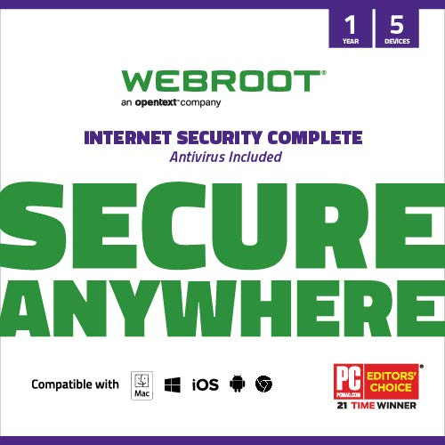 Webroot Internet Security Complete with Antivirus Software 2021 - 5 Device, Includes Android, IOS, Password Manager, System Optimizer and Cloud Backup, 12 Month Subscription with Auto Renewal (PC/Mac)