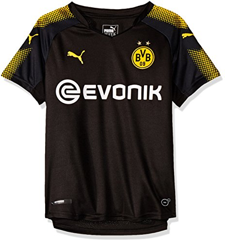 PUMA Jungen BVB Kids Away Replica Shirt with Sponsor Logo T Black-Cyber Yellow, 176