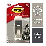Command Modern Reflections Metal Hook, Large, Brushed Nickel, 1-Hook (MR03-BN-ES), Great for dorm decor