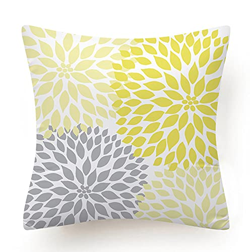Stafeny Juego de 4 piezas de cojín de margarita de flores para decoración del hogar con funda de almohada cuadrada con cremallera oculta para sofá dormitorio (45,72 x 45,72 cm)