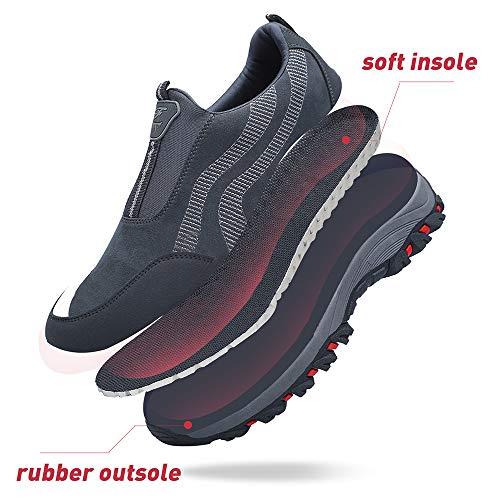 PAMRAY Zapato Hombre de Deportivos Fitness para Caminar Running Trailing Loafer Calentar Suede Zapatillas Slip on Breathable Negro Azul Gris Gris 40