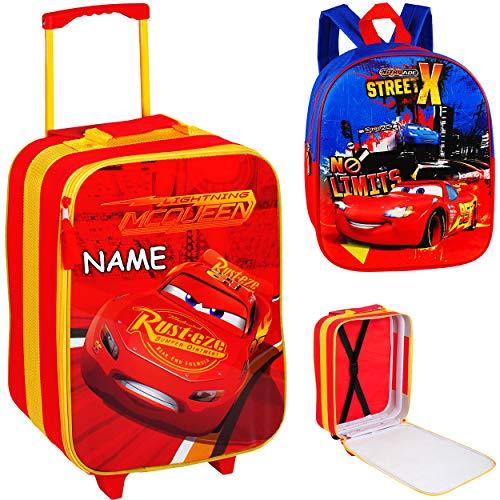 alles-meine.de GmbH 2 TLG. Set: großer _ Kinder Trolley + Rucksack - Disney Cars - Auto - Lightning McQueen - inkl. Name - wasserabweisend & beschichtet - Kinderrucksack für Jung..