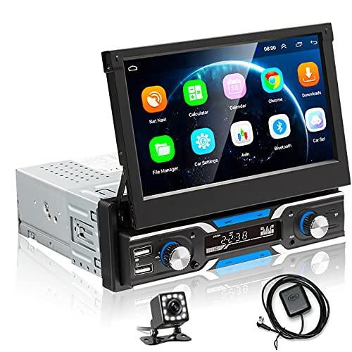 Hodozzy Android 1 Din Autoradio 7'' Capovolgi Automatico Touchscreen Autoradio GPS WIFI FM Radio Bluetooth 3USB /Aux-in Mirror Link per Telefono iOS/Android + 12LED Telecamera Posteriore