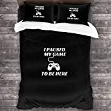LZMM Hojas I Paused My Game to Be Here 3 Piece Bedding Sets Natural Cotton Floral Ultra Soft Comfortable and Breathable