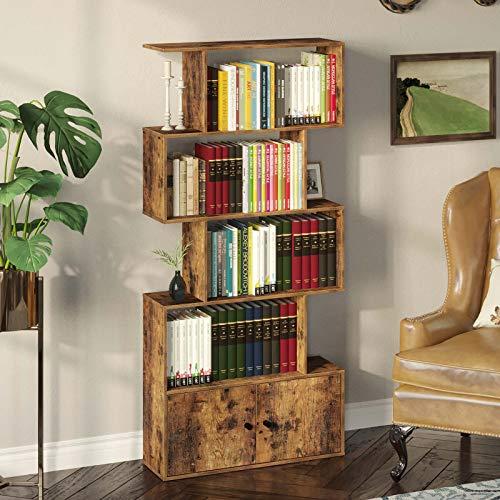 Rolanstar Bookcase with Cabinet,5-Tier Freestanding Bookshelf,Floor Standing Multifunctional Display Shelf,Utility Organizer Shelves for Living Room, Home Office