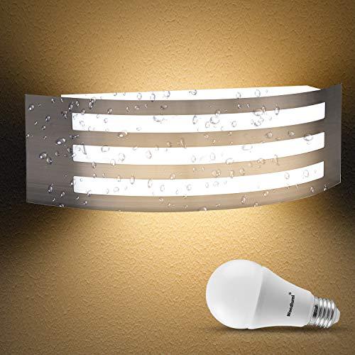 Wondlumi Wandlampe E27 Edelstahl IP44 LED Außenleuchte 230V Gebogen Balkon Wandleuchte Aussen inkl.1x 12W LED Warmweiß Glühbirne