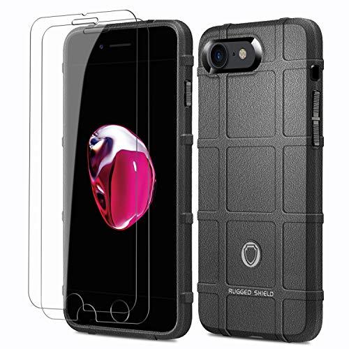 ELESNOW Cover per Apple iPhone 7/8/ SE (2020) con Pellicola Protettiva in Vetro Temperato [2 Pack], TPU Antiurto Custodia Antidérapant Cover per iPhone 7/8/ SE (2020), (Nero)