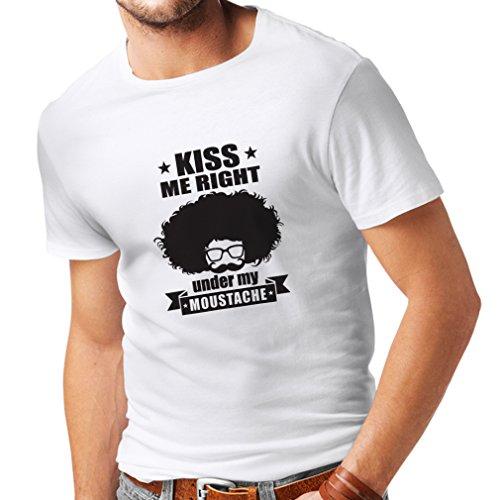 lepni.me N4268 Camiseta Besame Justo Debajo de mi Bigote (XX-Large Blanco Negro)