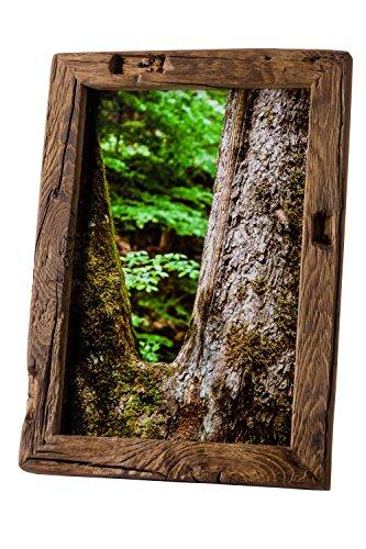 Bilderrahmen Alt-Holz aus alter Eiche – Vintage / Rustikal Rahmen als besonderes Geschenk für Hochzeit oder Geburtstag in Dunkel-Braun – Reine Handarbeit (30 x 40)