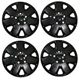 Tuningpros WC3-16-1026-B - Pack of 4 Hubcaps - 16-Inches Style Snap-On (Pop-On) Type Matte Black Wheel Covers Hub-caps