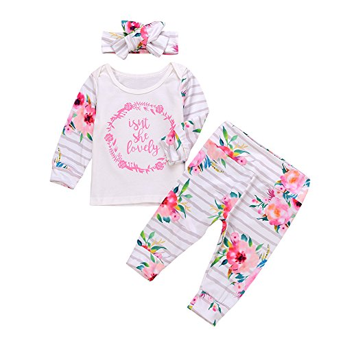 Fossen 3 Piezas 0 a 18 Meses Bebe Niña Floral Camiseta de Mangas Largo y Pantalones con Diadema Recien Nacido Conjunto de Ropa Otoño Invierno (12-18 Meses, Blanco)