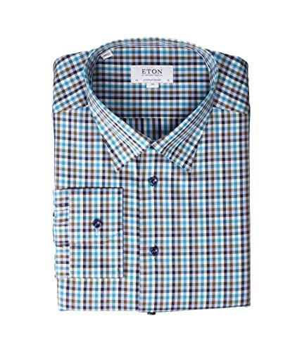 Eton Herren Langes Hemd mit Knopfleiste - Blau - 45