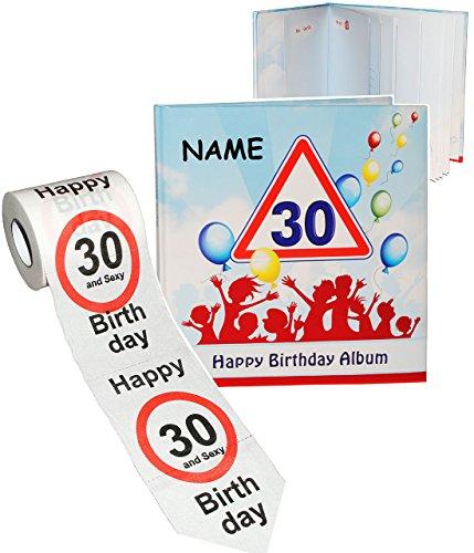 alles-meine.de GmbH 2 TLG. Set _ Geburtstag -  30 Jahre - Happy Birthday  - incl. Name - Erinnerungsalbum / Fotoalbum + Toilettenpapier Rolle - Gebunden zum Einkleben & Eintrag..