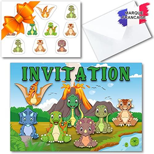 Kit créatif carte invitation anniversaire garçon en français sur le thème dinosaure pour 10 invités (10 cartons d invitation + 10 enveloppes + 1 planche de 10 stickers). Idéal enfants de 4 à 10 ans