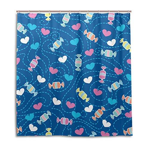 Wasserdichter Duschvorhang für den täglichen Gebrauch Süßigkeiten Herzen Badezimmer Set Polyester Stoff Duschvorhang mit Haken