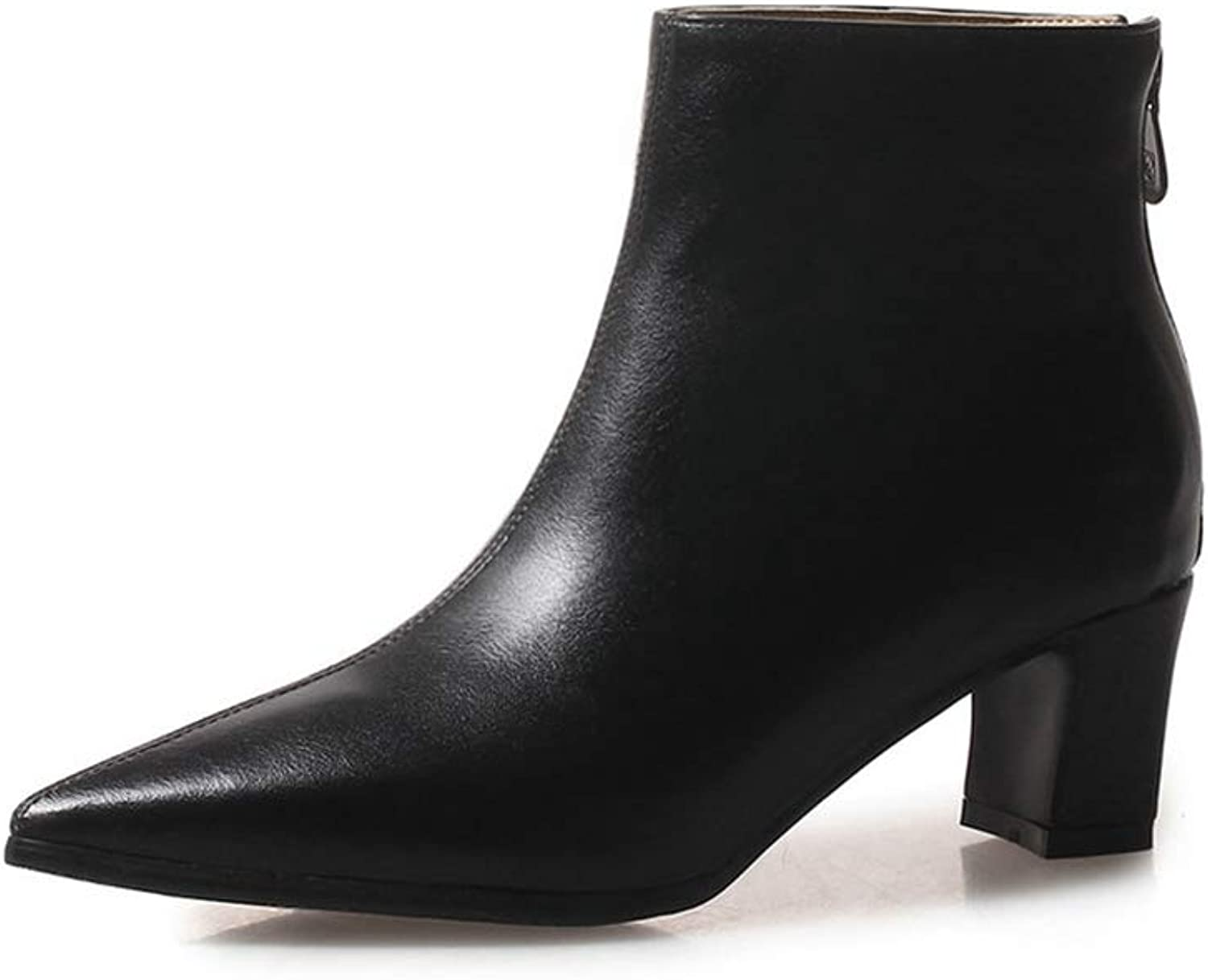 Zarbrina Womens Low Square Heel Ankle Boots Ladies Fashion Pointed Toe Casual Soft Rubber Sole Slip On Synthetic Winter Warm Party Dress shoes