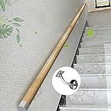 Pasamanos - Kit Completo, Pasamanos Redondos Antideslizantes para Escaleras De Madera Maciza De 50~400 Cm, con Tapas De Accesorios Pasamanos De Acero Inoxidable (Size : 200cm)
