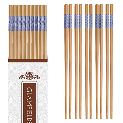 10-Pairs Bamboo Chopsticks,GLAMFIELDS Reusable Japanese Style Chopsticks Set Classic Natural Bamboo Chop Sticks Dishwasher Safe 9 1/2 Inches