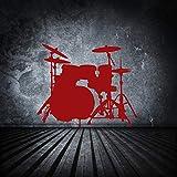 fancjj Etiqueta de la Pared Conjunto de Tambor Decoración para el hogar Música Encuadernación platillos Pegatina Dormitorio para niños Cartel Activo Mural Decel Removible 57x71 cm