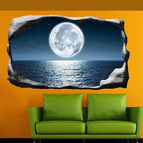 LMMLYR 3D Pegatinas de pared Mar Luna Llena Luz De La Luna 3D Adhesivo Decorativo para Pared Pegatinas Decorativas Pared Para Niños Decoración de la Pared Stickers