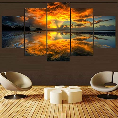 Canvas schilderij decoratie, Muur Artwork Pictures 5 Sunrise Panel Natural Landschap Modern HD Printed Olieverf Modular Posters Decor van het Huis (Color : No Frame, Size (Inch) : Size 1)