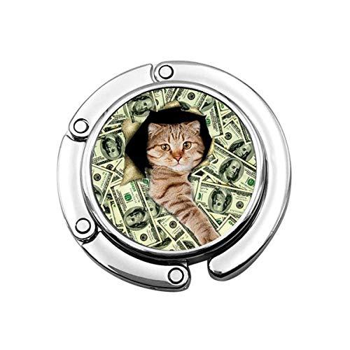 Gancho para Monedero Cat Million Dollar Bill Money Monedero Plegable Escritorio Ganchos-Bolso...