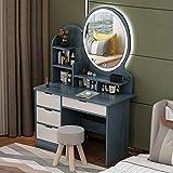 Tocador de dormitorio adulto con tocador de iluminación LED con 4 platformas de maquillaje de contenedor grandes espejos elípticos y taburetes de almohadillas,Blue