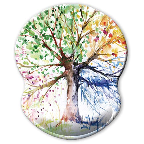 ITNRSIIET Ergonomic Mouse Pad with Gel Wrist Rest Support, Abstract Colorful Tree of Life Oil Paintings Art Creative Design, Non Slip PU Base Mouse Pad Wrist Rest for Office, Laptop, Comfortable