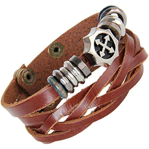 Thumby Unisex Polsband Armbanden Punk Stijl Armband Druppelen Olie Kruis Geweven Lederen Armband met Paar Lederen Armband Koffie