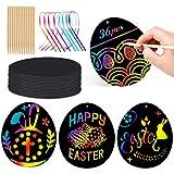 Wishstar Uova di Pasqua Scratch Art,Carta Gratta e Vinci di Pasqua Arcobaleno 36 PCS,Pasqua Decorazioni,Regali Creativi per Bambini