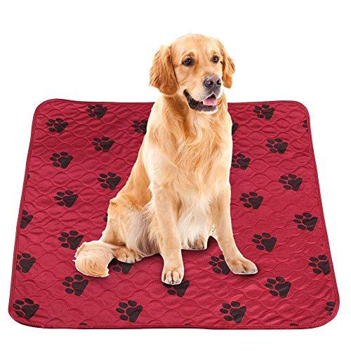 Smandy Hund Pee Pads Super saugfähige Hund Urin Mat Wiederverwendbare Hundetraining Matte Waschbare Fütterungsmatte Wurfmatte für Hunde Katzen(70 * 80cm-Rot)