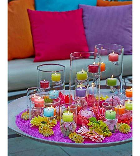40 Teelichter im farbigen Acryl Cup, Summerlights - Nightlights, 7 - 9 verschiedene Farben, 8 Stunden Brenndauer, farbige Plastikhüllen, Sparpack