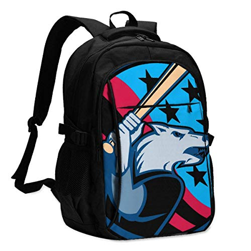 XCNGG American Baseball Wolf Travel Laptop Backpack College School Bag Casual Daypack with USB Charging Port