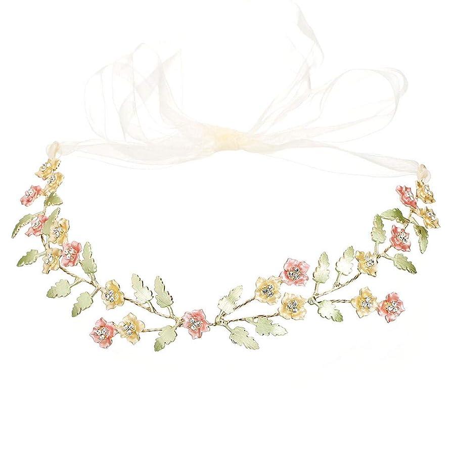 責囲まれた資格情報ブライダルティアラシンプルな葉の形の花のヘアバンドヘッドバンドの結婚式の宴会の付属品@金